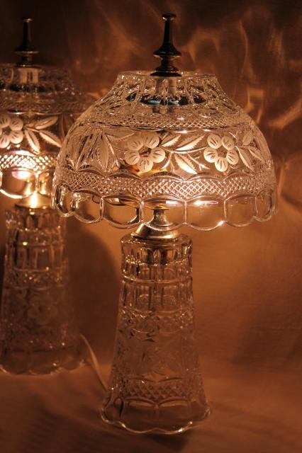 Pair Of Heavy Cut Crystal Clear Glass Table Lamps Vase Bases W