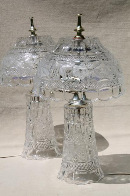 Pair Of Heavy Cut Crystal Clear Glass Table Lamps Vase Bases W Bowl Shaped Shades