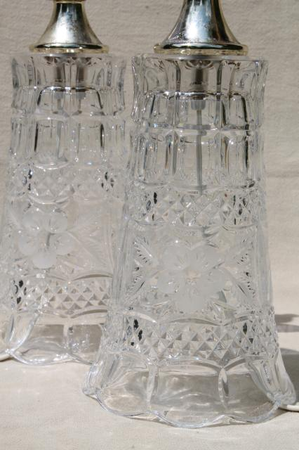 Pair Of Heavy Cut Crystal Clear Glass Table Lamps Vase