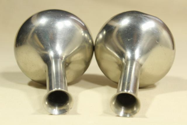 pair of heavy pewter bud vases to hold a few flowers, mid century mod vintage