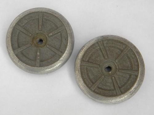 pair of industrial machine-age vintage aluminum hand wheels or handles
