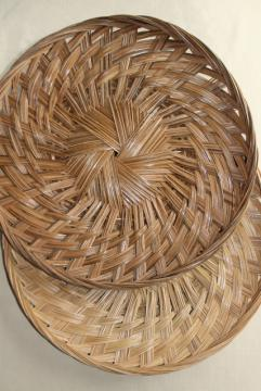 pair of large round basket trays, vintage woven straw herb drying baskets