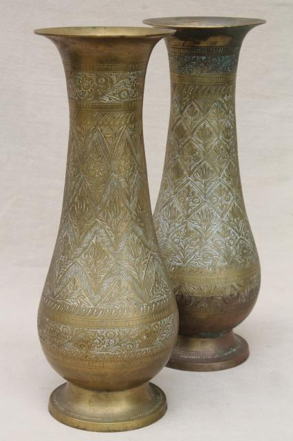 Pair Of Large Vintage Etched Brass Vases Tall Tarnished Brass Urns