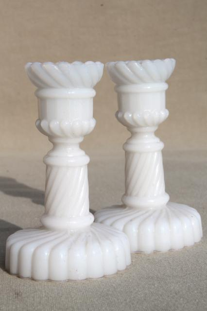 Pair Of Miniature Milk Glass Candlesticks Vintage Candle Holders Sized For Birthday Candles