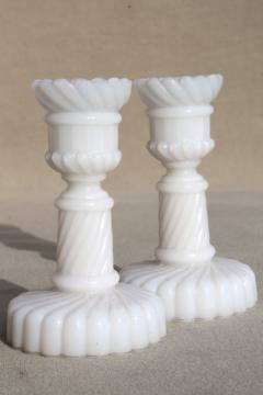 pair of miniature milk glass candlesticks, vintage candle holders sized for birthday candles