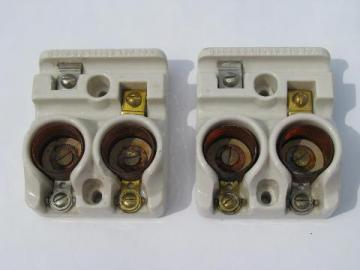 pair of old antique early GE architectural fuse holders with Edison sockets & 1901 patent