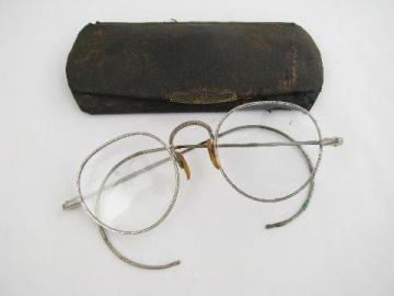 pair of old antique spectacles w/ornate frames & leatherette case