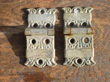 pair of ornate antique Arts & Crafts, Eastlake vintage, cast metal icebox hinges/hardware