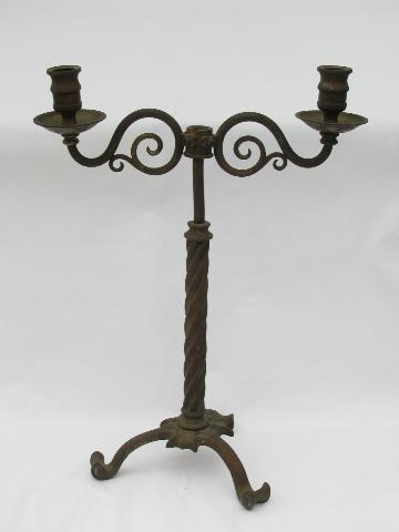 pair of ornate antique brass gaslight candelabra candlestick banquet lamps, circa 1890s