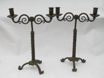 pair of ornate antique brass gaslight candelabra candlestick banquet lamps, circa 1890s