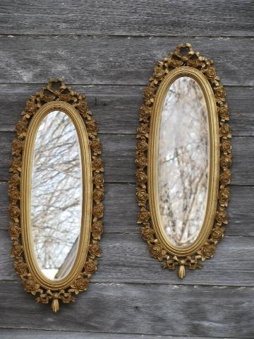 Pair Of Oval Mirrors Vintage French Country Style Ornate