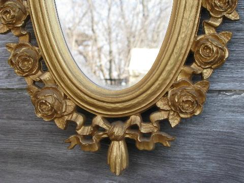 pair of oval mirrors, vintage french country style ornate gold rococo