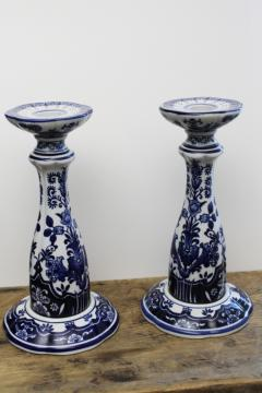 pair of oversized tall candlesticks, blue & white china chinoiserie candle holders