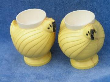 pair of retro 50's plastic egg cups, chickens