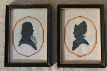 pair of silhouette portraits, framed vintage needlework embroidered pictures