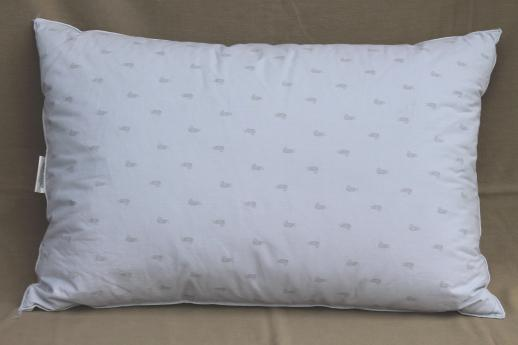 pair of soft puffy duck down feather pillows 90s vintage luxury bedding