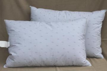 pair of soft puffy duck down / feather pillows, 90s vintage luxury bedding