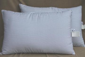 pair of ticking stripe white down pillows, 90s vintage luxury bedding Down Inc