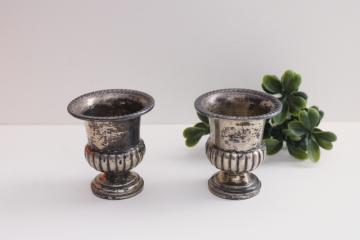 pair of tiny old sterling silver vases or spill holders, trophy cup shape urns