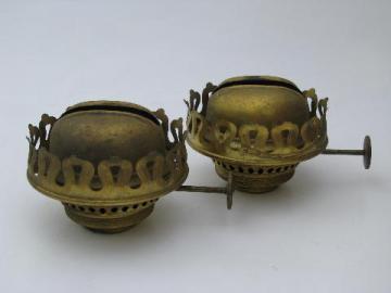 pair of vintage brass Arts and Crafts kerosene or oil lamp burners, lot #4