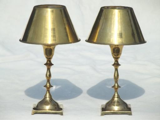 pair of vintage brass candle lamps, solid brass candlesticks w/ shades