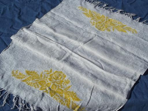 pair of vintage cotton damask towels, yellow rose leaf floral border