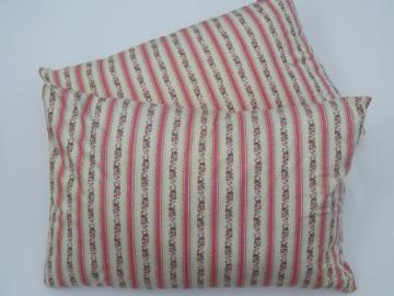 pair of vintage feather pillows, polished cotton floral stripe ticking