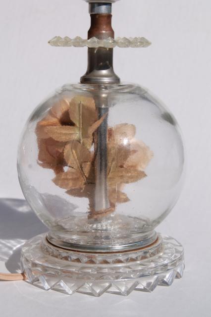 Pair Of Vintage Glass Boudoir Lamps W Flower Globe Lamp