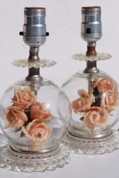 pair of vintage glass boudoir lamps w/ flower globe lamp bases, peach pink roses