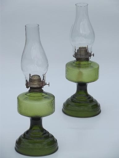 pair of vintage glass oil lamps homesteader antique. Black Bedroom Furniture Sets. Home Design Ideas