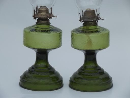 Pair Of Vintage Glass Oil Lamps, Homesteader Antique Chimney Lamp W/ Shade