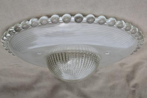 Pair Of Vintage Hobnail Edge Glass Lamp Shades For Ceiling