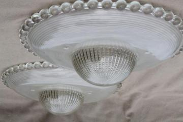 pair of vintage hobnail edge glass lamp shades for ceiling pendant lights