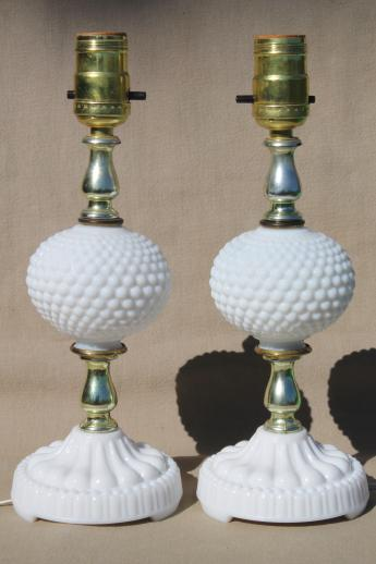 pair of vintage hobnail milk glass boudoir vanity table lamps, cottage style!