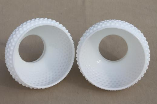 pair of vintage hobnail milk glass shades, lampshades for student lamp or hanging light