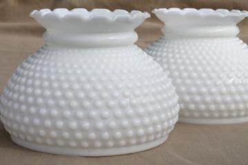 Vintage hanging lamps and chandeliers pair of vintage hobnail milk glass shades lampshades for student lamp or hanging light aloadofball Gallery