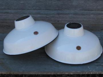 pair of vintage industrial white w/black rims enamel barn or shop lights