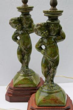 pair of vintage majolica green lamps w/ cherub figures, french country style