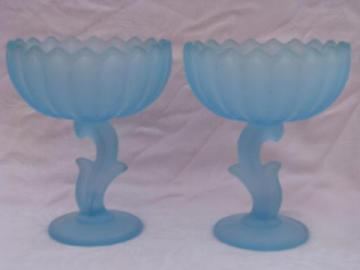 pair of vintage pale blue satin glass flower bowls