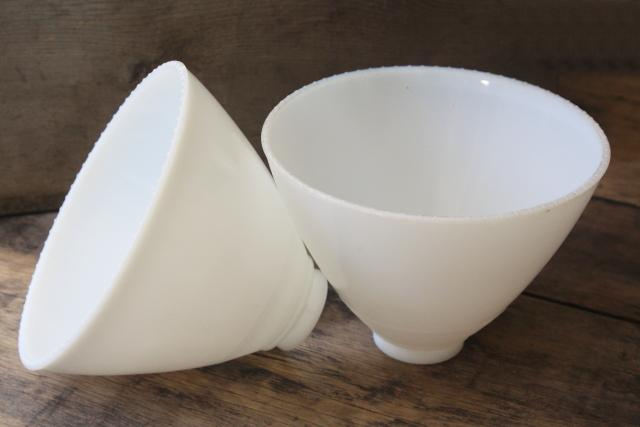 pair of vintage white glass diffuser shades, lamp shade reflector waffle milk glass