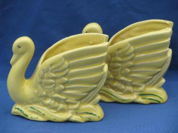 pair of yellow pottery swans, mid-century vintage flower pot planters