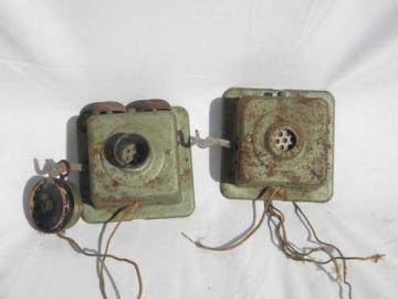 pair old Connecticut Telephone and Electric intercom phones for parts