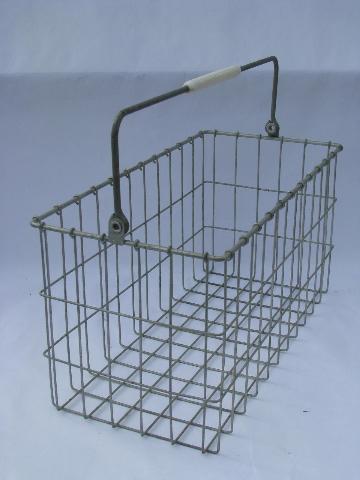 Pair Old Milk Bottle Carrier Baskets Vintage Wire Dairy Crates W Handles