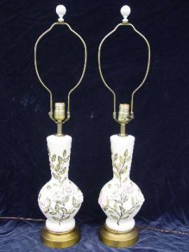 pair old shabby roses vintage china lamps
