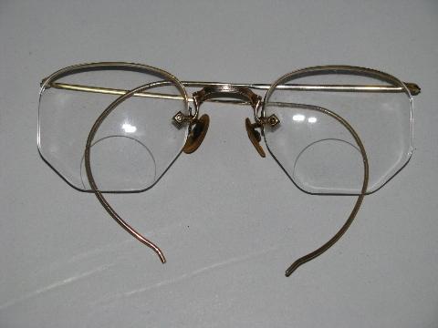 2c8d30e5cf5 pair old vintage Artcraft 12k gold bifocal spectacles w case