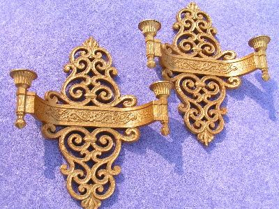 pair ornate gold plastic Syroco wall sconces for candles