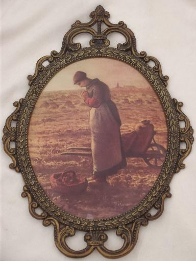 pair ornate metal picture frames w/ curved convex glass, gleaners prints