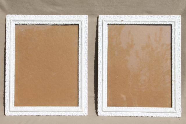 pair ornate wood picture frames w old white paint shabby cottage chic - Wooden Picture Frames To Paint