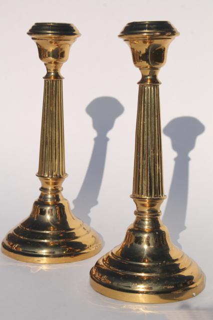 pair polished brass candlesticks, vintage candle holders, English brass hollowware