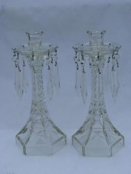 pair pressed glass mantle lusters candlesticks w/ prisms, vintage candleholders